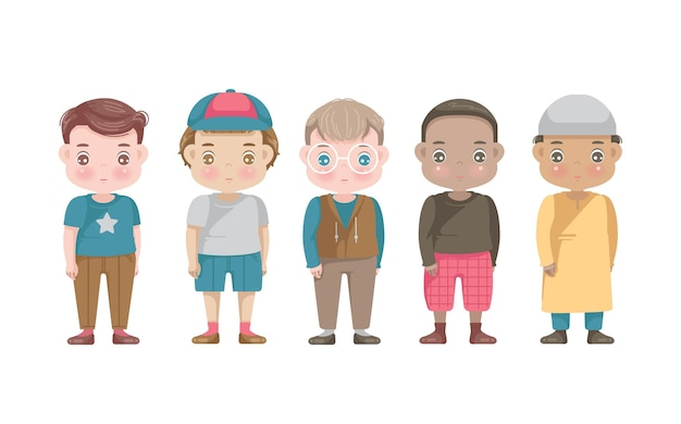 Ensemble de groupes de personnages de garçons.