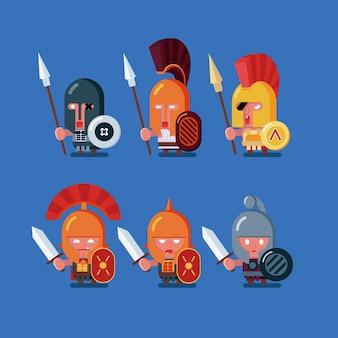 Ensemble de guerriers antiques