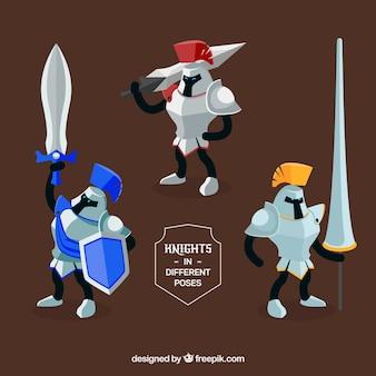 Ensemble de guerriers avec des armes