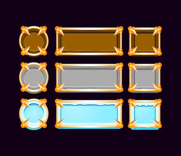 Ensemble de gui en bois, pierre, bouton de glace avec cadre de bordure dorée médiévale pour les éléments d'actif de l'interface utilisateur de jeu