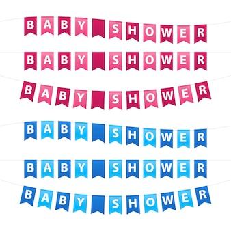 Ensemble de guirlande de douche de bébé ondulée bleue et rose avec des drapeaux.