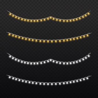 Ensemble de guirlande rougeoyante de noël doré lampe au néon led décoration nouvel an lumières de noël blanc
