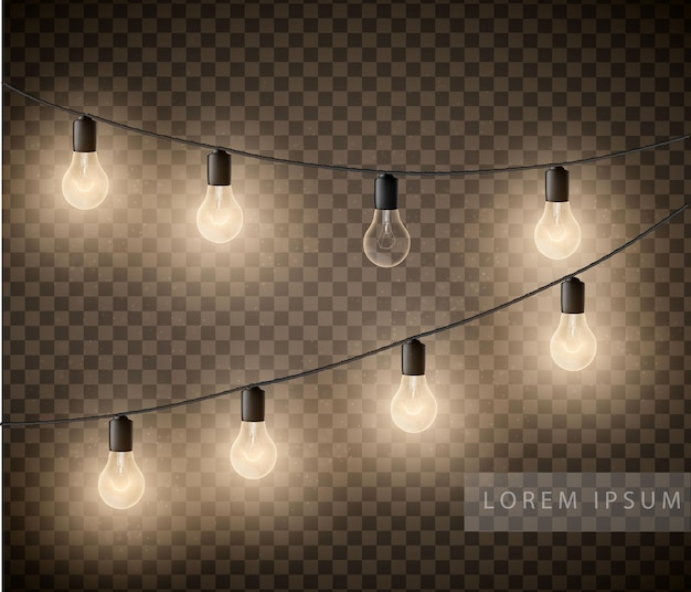 Ensemble de guirlandes d'ampoules sur fond transparent.