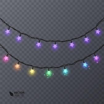 Ensemble de guirlandes colorées en forme d'étoiles. guirlande de décoration de vacances