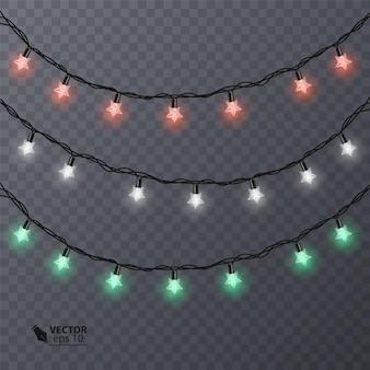 Ensemble de guirlandes colorées en forme d'étoiles.