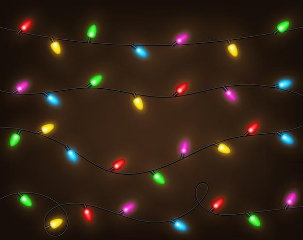 Ensemble de guirlandes de couleurs, décorations festives