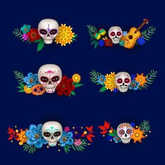 Ensemble de guirlandes avec des crânes en sucre et des fleurs