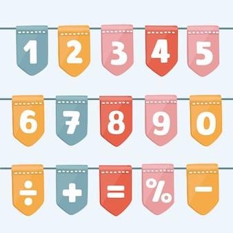 Ensemble de guirlandes de drapeau de dessin animé avec des lettres et des chiffres de l'alphabet. bon pour les événements, les célébrations, les festivals, les foires, les marchés, les fêtes et le carnaval.
