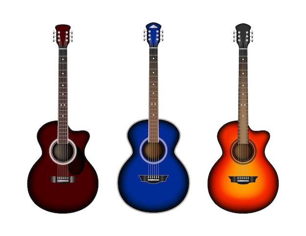 Ensemble de guitare acoustique. guitares réalistes lumineuses.