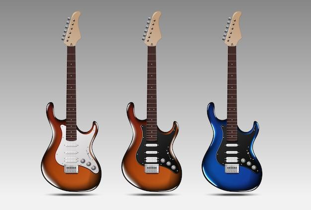 Ensemble de guitares électriques réalistes.