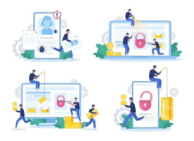 Ensemble de hackers. des voleurs attaquent un ordinateur et un téléphone portable