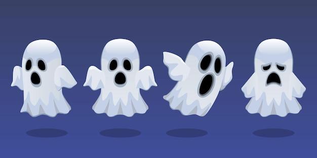 Ensemble, de, halloween, caractère, mignon, chuchotement, fantôme, isolé
