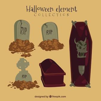 Ensemble de halloween avec des cercueils et des pierres tombales