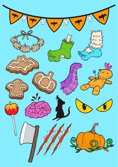 Ensemble de halloween doodle art, art vecteur dessiné main halloween