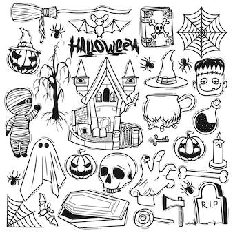 Ensemble halloween élément doodle dessiné à la main