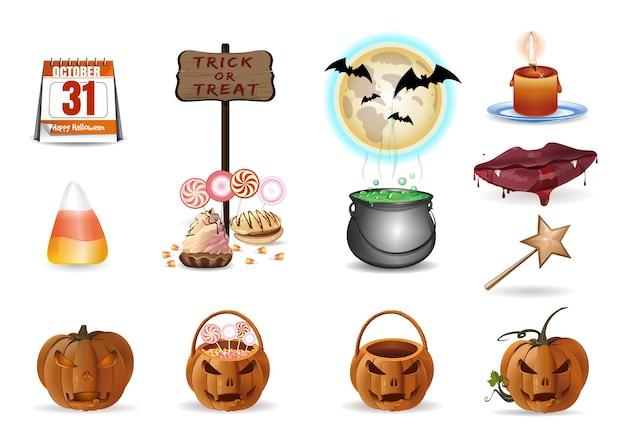Ensemble de halloween. icônes de dessin animé coloré isolés sur fond blanc