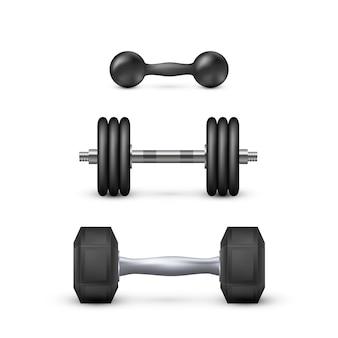 Ensemble d'haltères réalistes. équipement de musculation et d'entraînement.