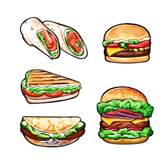 Ensemble de hamburgers, petits pains et sandwich
