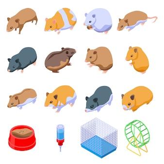 Ensemble de hamster, style isométrique