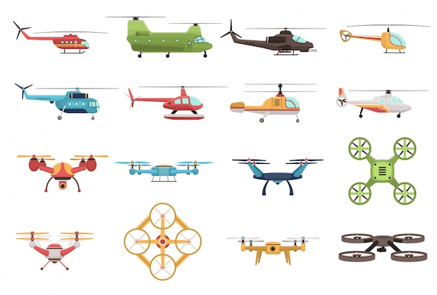 Ensemble d'hélicoptères et de drones