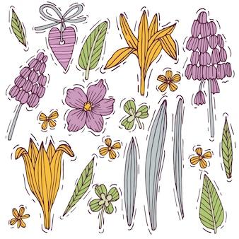 Ensemble d'herbes et de fleurs colorées à la main, jacinthe de souris et crocus avec violet. fleurs de style gravées. illustration.