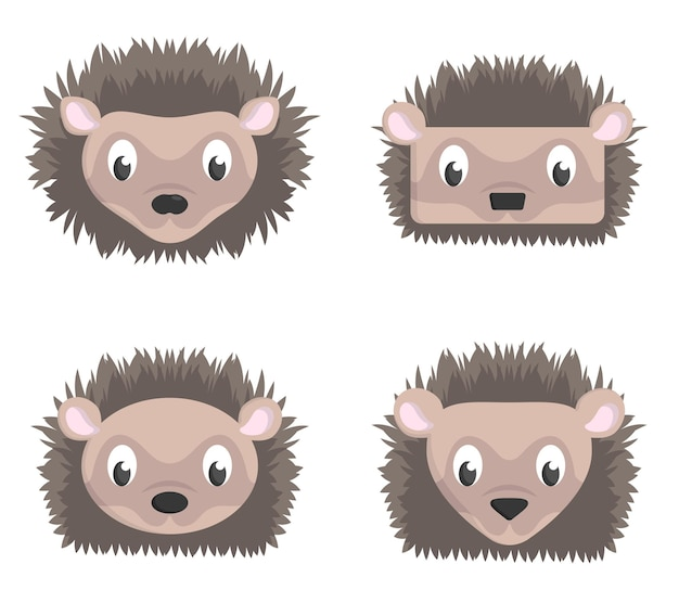 Ensemble de hérissons de dessin animé. différentes formes de têtes d'animaux.
