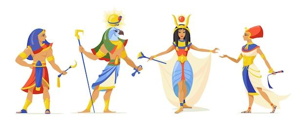 Ensemble de héros de mythes égyptiens