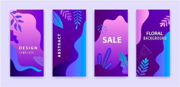 Ensemble d'histoire abstraite instagram pour les médias sociaux avec fond vibrant lumineux dégradé violet floral, bannière de vente