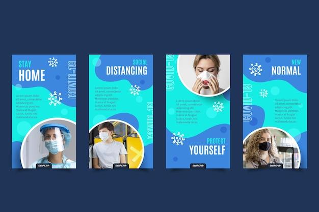 Ensemble d'histoire instagram de coronavirus design plat