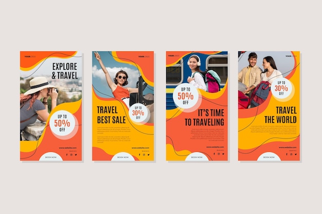 Ensemble d'histoire instagram de voyage design plat