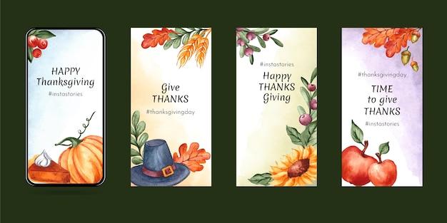Ensemble d'histoires instagram aquarelle thanksgiving