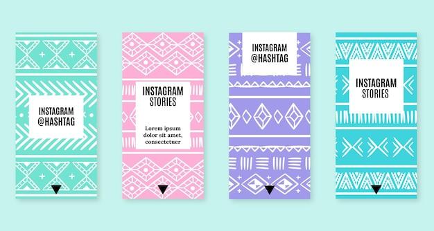 Ensemble d'histoires instagram boho dessinées à la main