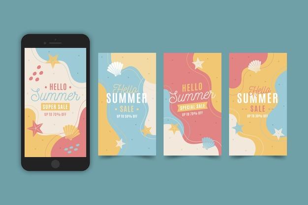 Ensemble d'histoires instagram bonjour vente d'été