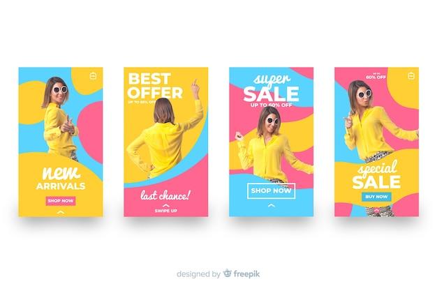 Ensemble d'histoires instagram colorées de vente abstraite