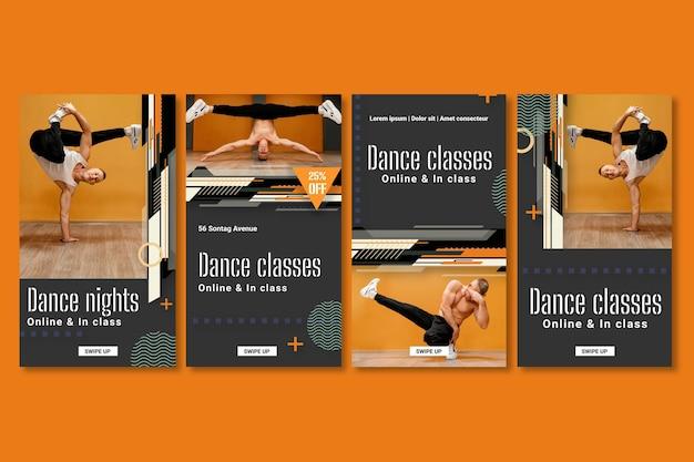 Ensemble d'histoires instagram de danse