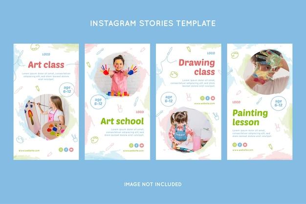 Ensemble d'histoires instagram école de dessin pour enfants