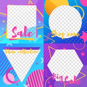 Ensemble d'histoires instagram avec des informations sur la vente et l'actualité