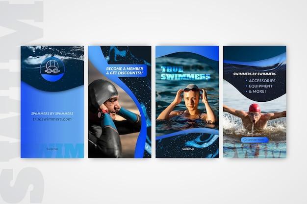 Ensemble d'histoires instagram de natation