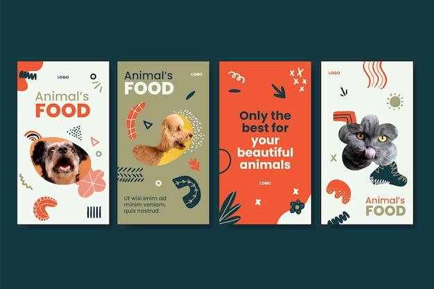 Ensemble D'histoires Instagram De Nourriture Pour Animaux Vecteur Premium