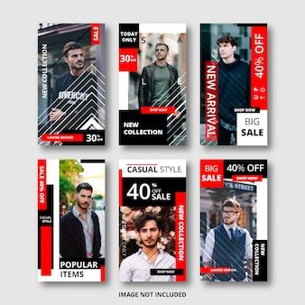 Ensemble d'histoires instagram pour bannière de vente, thème de la mode