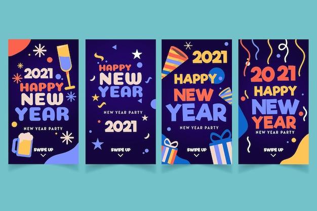 Ensemble d'histoires instagram pour la fête du nouvel an 2021