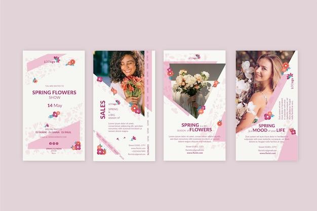 Ensemble D'histoires Instagram Printemps Design Plat Vecteur gratuit