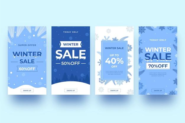 Ensemble d'histoires instagram avec soldes d'hiver