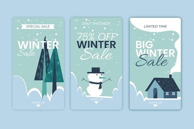 Ensemble d'histoires instagram de soldes d'hiver
