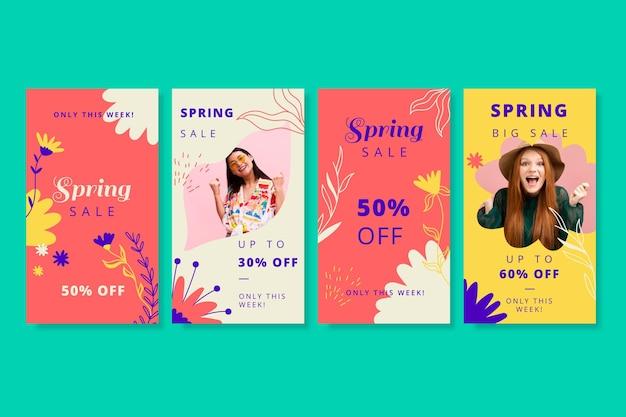 Ensemble d'histoires instagram de soldes de printemps