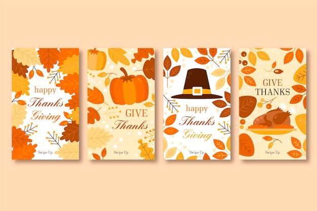 Ensemble d'histoires instagram de thanksgiving