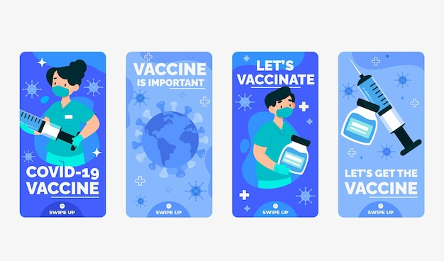 Ensemble d'histoires instagram de vaccination