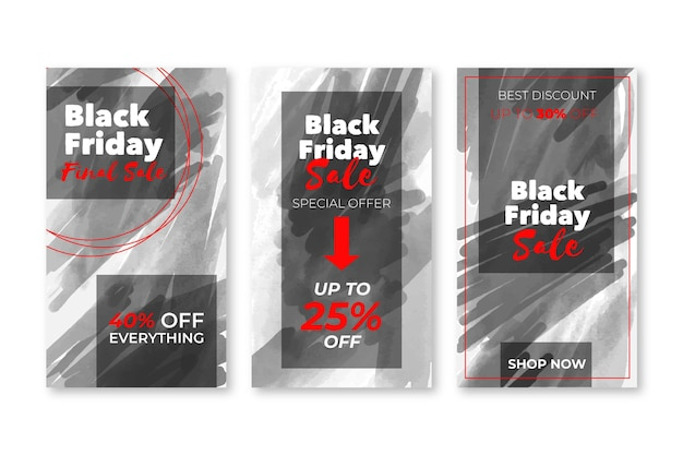 Ensemble d'histoires instagram de vendredi noir aquarelle tache