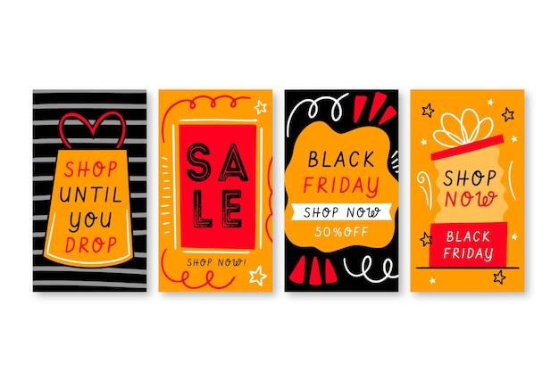 Ensemble d'histoires instagram de vendredi noir dessinés à la main