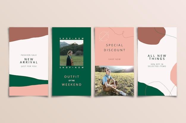 Ensemble d'histoires instagram de vente biologique